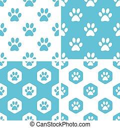 Animal paw patterns set
