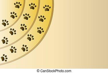 Animal paw prints border background