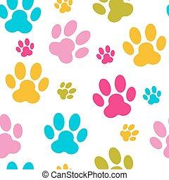 Animal Paw Seamless Pattern Background Vector Illustration. EPS10