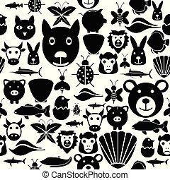 Animal seamless pattern background icon.