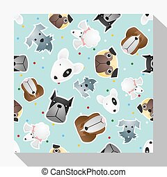 Animal seamless pattern collection with dog , vector , illustration