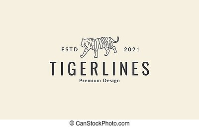 animal tiger simple lines walk  logo vector icon symbol design graphic illustration