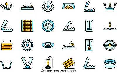 Animal trap icons set vector flat