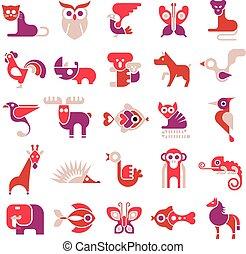 Animal vector flat icons