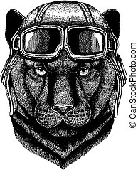 Animal wearing aviator helmet with glasses. Vector picture. Panther Puma Cougar Wild cat Hand drawn image for tattoo, emblem, badge, logo, patch, t-shirt