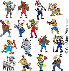 animal-worker-mascot-CARTOON-SET