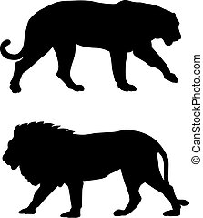 Abstract vector illustration of predatory animals silhouettes