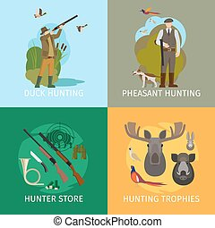 Animals hunting concepts. Wildlife duck hunt and wild boar hunting with shotgun vector illustration
