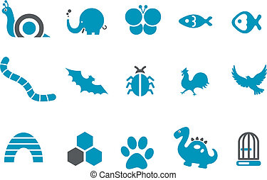 Vector icons pack - Blue Series, animals collection