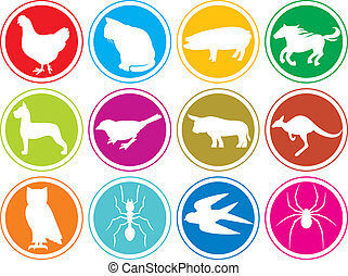 animals icons buttons (animal icons set, animal icons collection, animal buttons, cat, pig, horse, chicken, dog, bird, bull, owl, ant, spider, animal, kangaroo, swallow, pig)