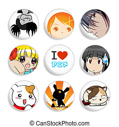Set of badges with the typical and popular anime characters