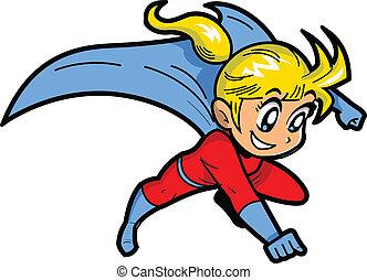 Anime Manga Blonde Young Girl Flying Superhero With Cape