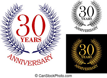 Anniversary celebration emblem with wreath