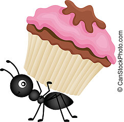 Scalable vectorial image representing a ant carrying cupcake, isolated on white.