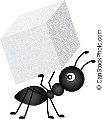 Scalable vectorial image representing a ant carrying sugar cube, isolated on white.