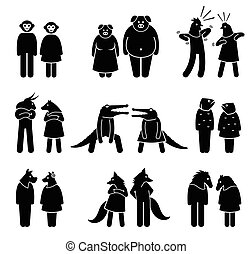 Anthropomorphic characters of male and female.