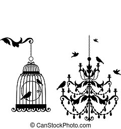 vintage birdcage and crystal chandalier with birds, vector background