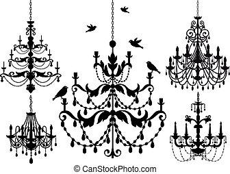 chandelier set, vector
