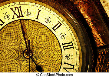 Extreme close up of an antique clock
