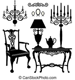 Antique decorative furniture collection, black silhouettes of furniture for your design. Vector illustration.