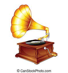 illustration of antique gramaphone on plain white background
