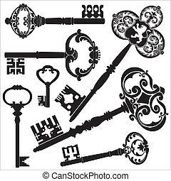 Several kinds of old antique keys.