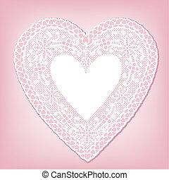 Antique White Lace Heart Doily