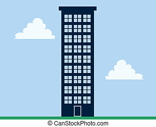 Tall apartment building with blue sky