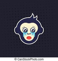 ape, crying monkey vector sticker, print