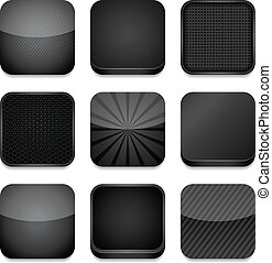Vector app icons, different styles in black. Eps10 file with transparency.
