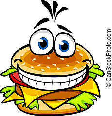 Appetizing smiling hamburger in cartoon style for fast food design