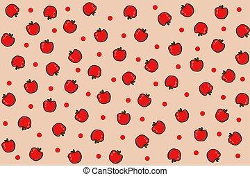 Apple background. Fruit vector seamless pattern