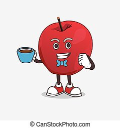 Apple cartoon mascot character with a cup of coffee