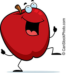 A happy cartoon apple dancing and smiling.