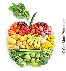 various vegetables and fruits in apple shape