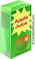 Carton of apple juice illustration.