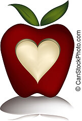 illustration of an apple with a heart carved in it. This is a gradient mesh illustration.