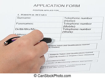 An application and personal details form concept