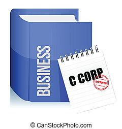Approved stamp on a C corporation legal document illustration design over white