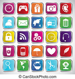Illustration of icons of tablet apps, apps market, vector illustration
