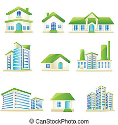 illustration of set of architectural building on isolated white background