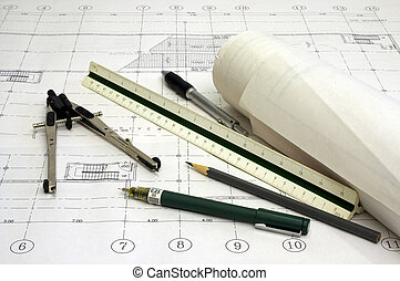 Architectural Drawings with Various Drawing Tools