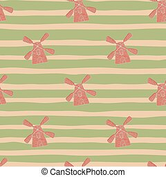 Architecture seamless pattern with pink doodle windmill ornament. Green striped background.