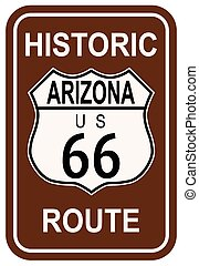 Arizona Historic Route 66 traffic sign with the legend ARIZONA HISTORIC ROUTE US 66