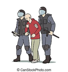 This is the illustration of protester arrest