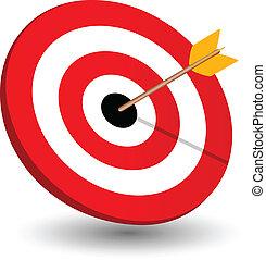 Arrow right on target, symbol of winning