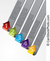 Arrow shaped advertising labels bent and pointing upwards