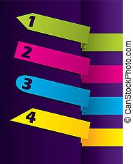 Arrow shaped color advertising label set
