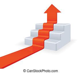 Arrow upstairs. Growth concept. High detailed 3d vector