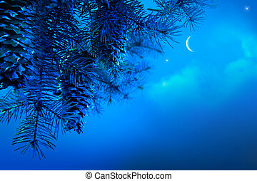 Art Christmas tree branch on a blue night sky background